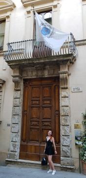the entrance. Big doors, tiny Marina :)