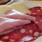 cheese, salami and ham: typical breakfast spread in Europe
