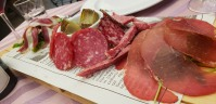 antipasto with breast of duck, wild boar salami and sausage, deer salami and artichokes, all locally sourced