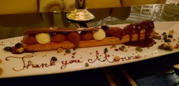 Paris-London dessert. They wrote my name on it!!!!! It was delicious