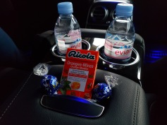the complimentary goodies in the car