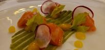 Salmon with avocado & passionfruit sauce