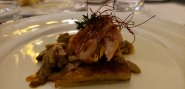 Rabbit with fresh porcini mushrooms and potato gateau