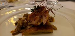 Rabbit with fresh porcini mushrooms and potato gateau