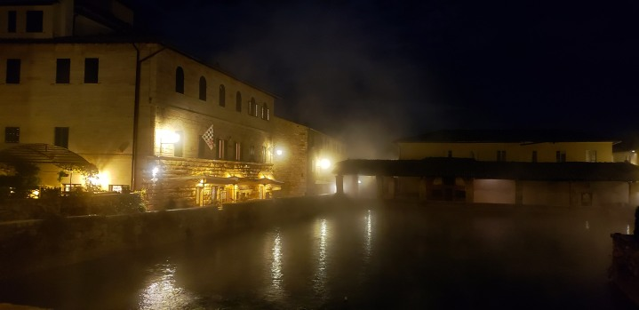 view of the hotel from the medieval thermal bath