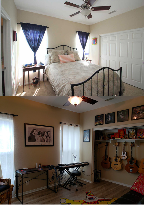 music room - BEFORE AND AFTER decor