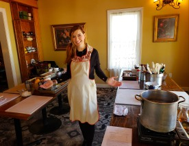 An eager student, I brought my own apron :) Can you see my 6.5 months baby bump? :)